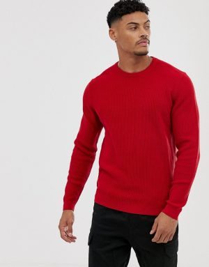 ASOS DESIGN knitted ribbed sweater in red - Red