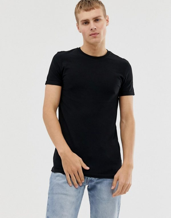 ASOS DESIGN muscle fit crew neck t-shirt with stretch and roll sleeve in black - Black