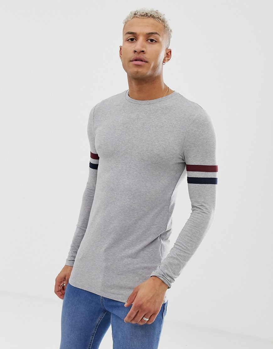 670a699f2271 ASOS DESIGN muscle fit longline long sleeve t-shirt with stretch and contrast  sleeve stripe in gray marl – Gray