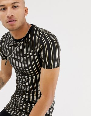 ASOS DESIGN muscle fit longline t-shirt with gold vertical stripe - Black