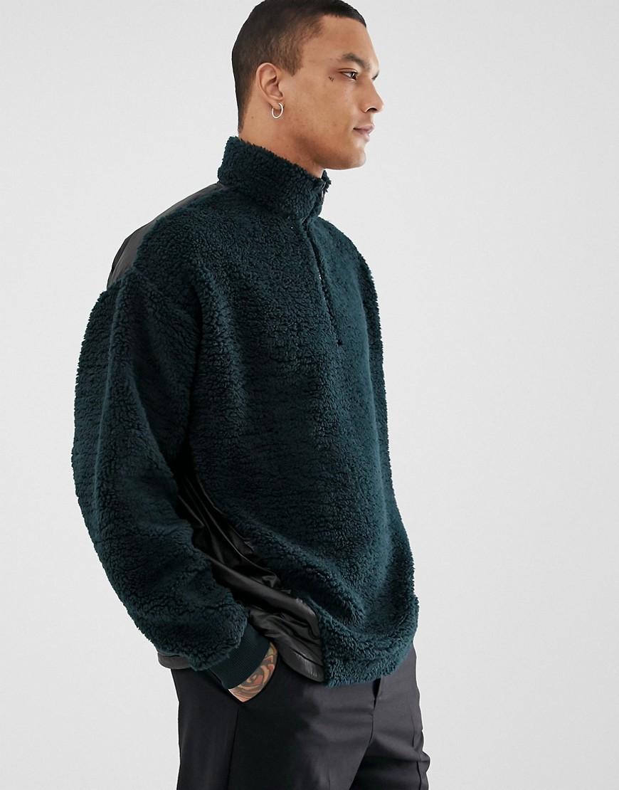 ASOS DESIGN oversized half zip sweatshirt with contrast back panel in green  borg - Green
