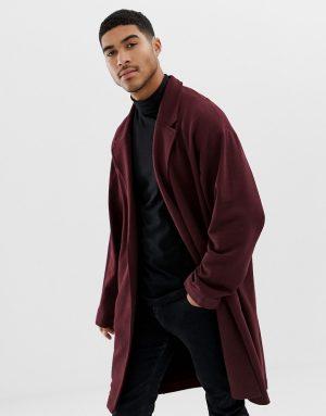 ASOS DESIGN oversized jersey duster jacket in burgundy - Red
