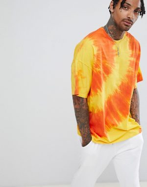ASOS DESIGN oversized longline t-shirt with diagonal tie dye in yellow - Yellow