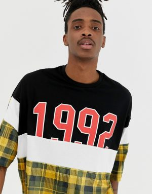 ASOS DESIGN oversized t-shirt with velour check cut and sew panels and 1992 print and half sleeve - Black