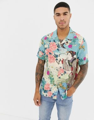 ASOS DESIGN regular fit floral lady print shirt - Multi