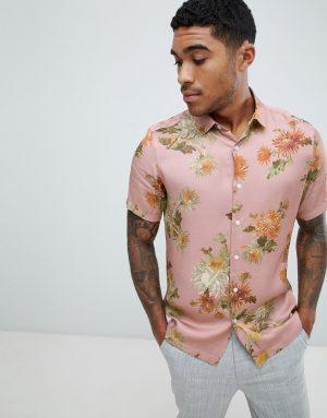 ASOS DESIGN regular fit floral shirt in pink - Pink