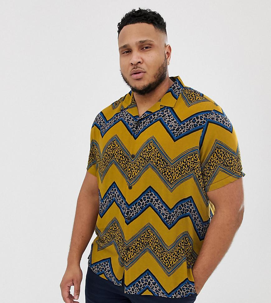 dd2d4d9b14e9 ASOS DESIGN Plus regular fit shirt with chevron leopard print stripe –  Yellow