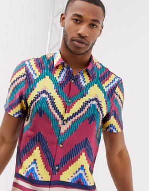 ASOS DESIGN regular shirt enlarged digital geo-tribal in multi - Multi