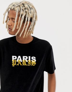 ASOS DESIGN relaxed t-shirt in towelling with paris slogan embroidery - Black