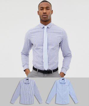 ASOS DESIGN skinny stripe shirt and blue skinny shirt pack save - Multi