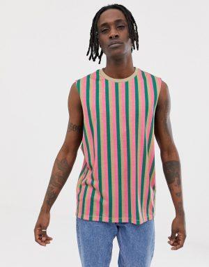 ASOS DESIGN sleeveless t-shirt with vertical stripe - Multi