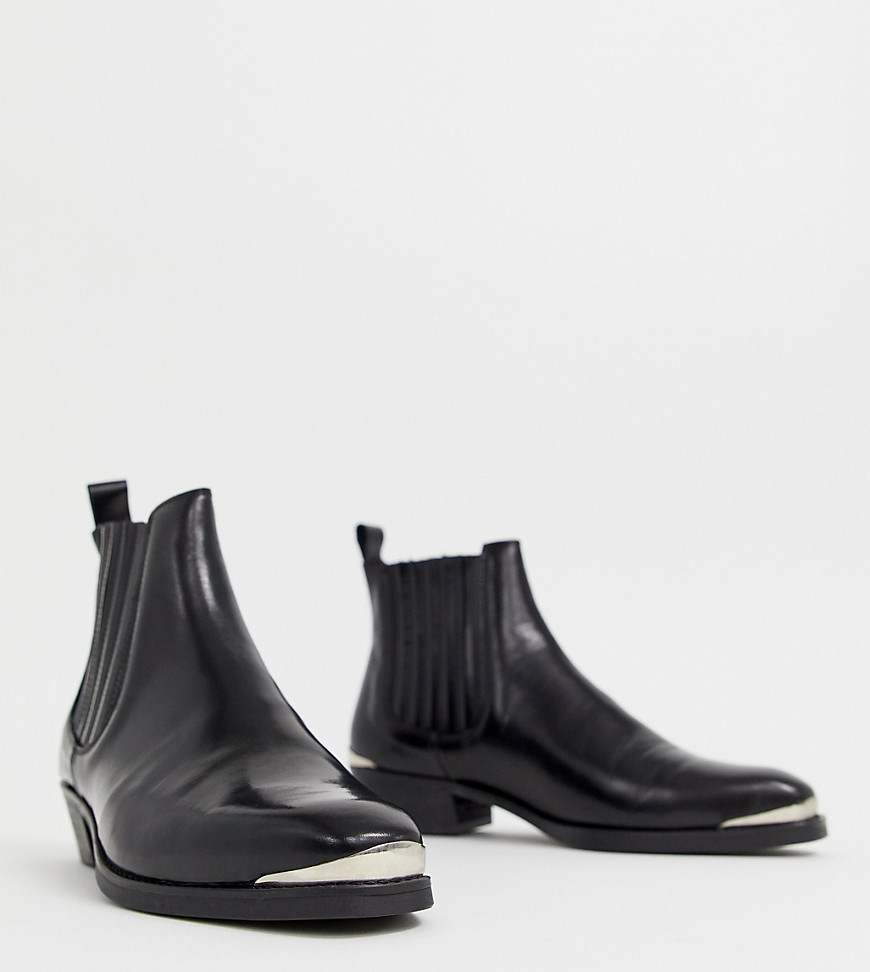 bd222349b5d ASOS DESIGN stacked heel western chelsea boots in black leather with metal  details - Black