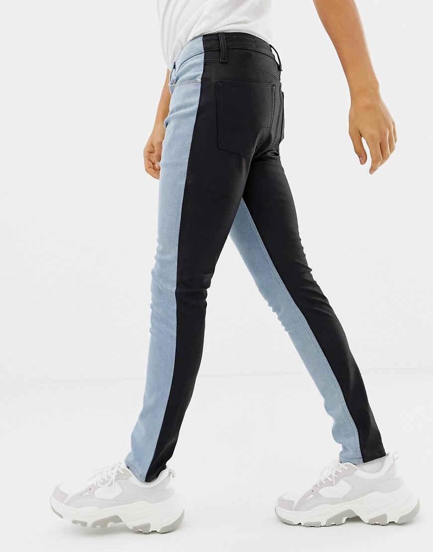 dd7cc7985d ASOS DESIGN super skinny jeans in vintage light wash with contrast PU back  – Blue