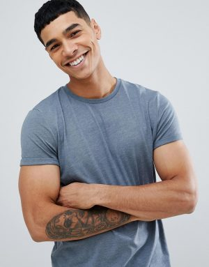 ASOS DESIGN t-shirt with crew neck and roll sleeve in blue - Blue