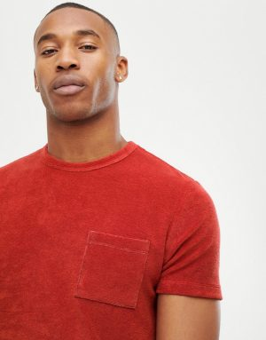 ASOS DESIGN t-shirt with pocket in towelling - Red