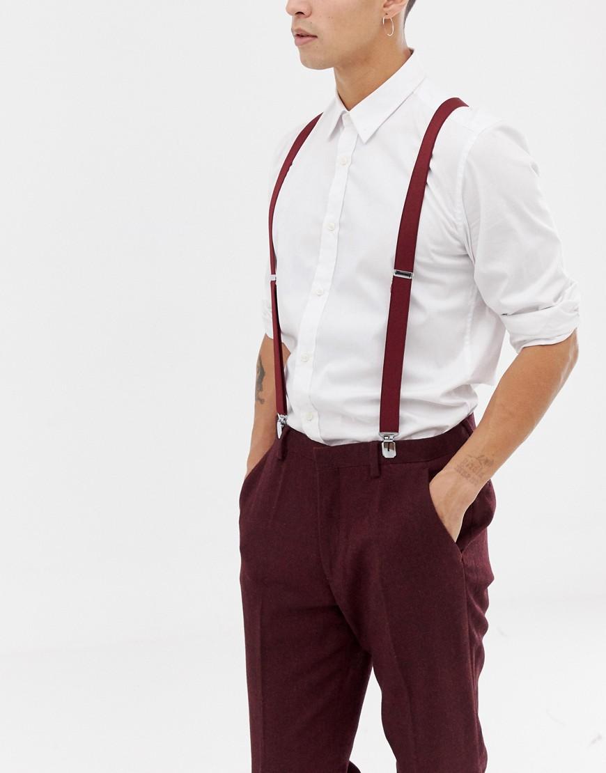 0ed5bcef36b0b ASOS DESIGN wedding suspenders in burgundy – Red | The Fashionisto