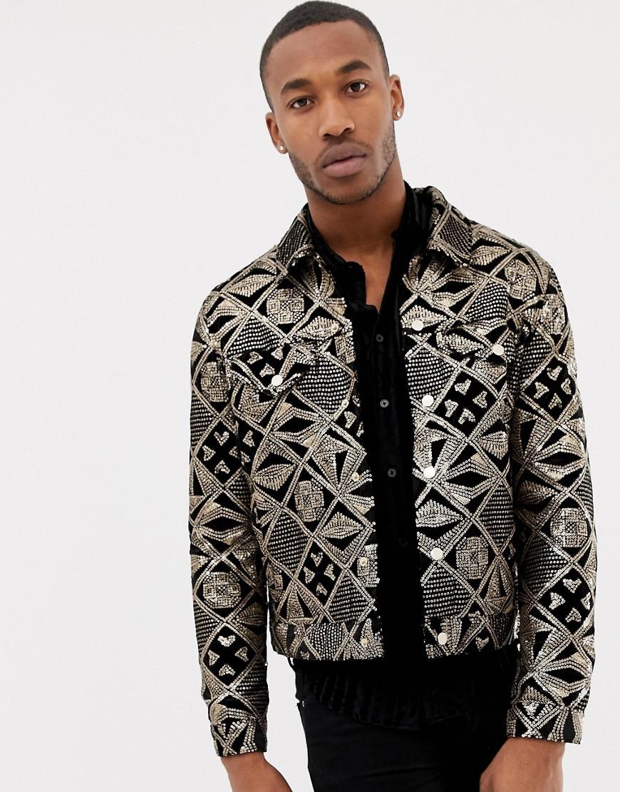 a47cabd2a ASOS DESIGN western jacket with gold sequins in black velour - Black