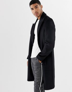 ASOS DESIGN wool mix overcoat with peak lapel in black - Black