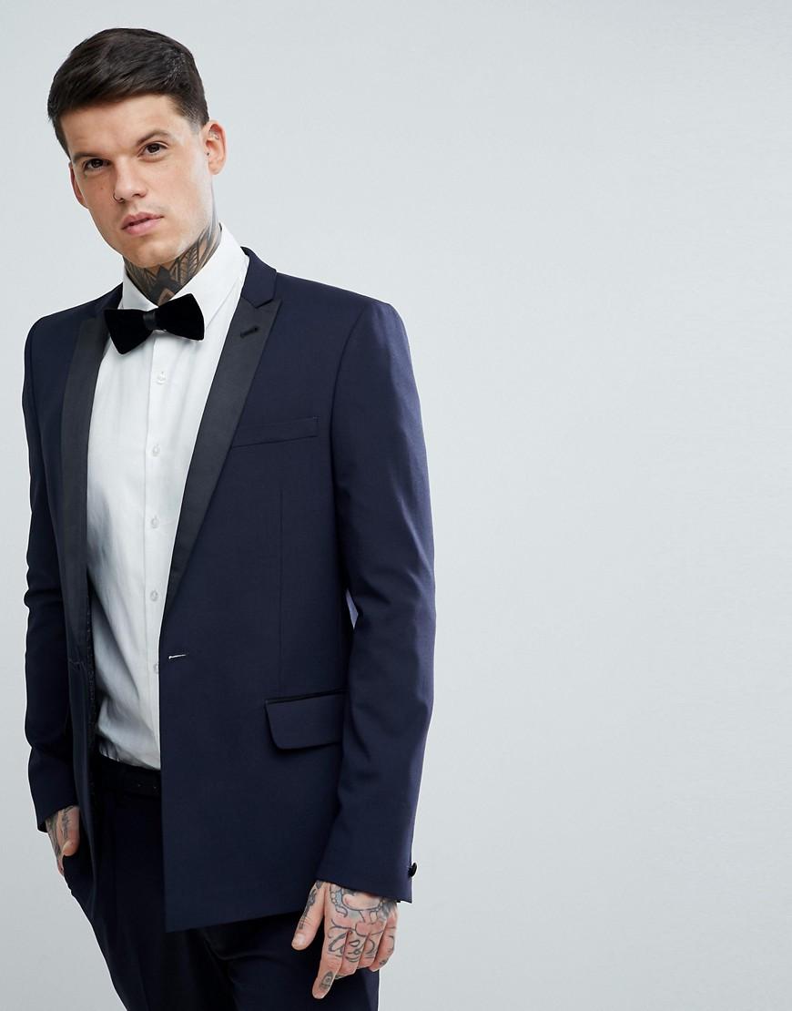 ASOS Skinny Tuxedo Suit Jacket In Navy With Black Satin Lapel - Navy