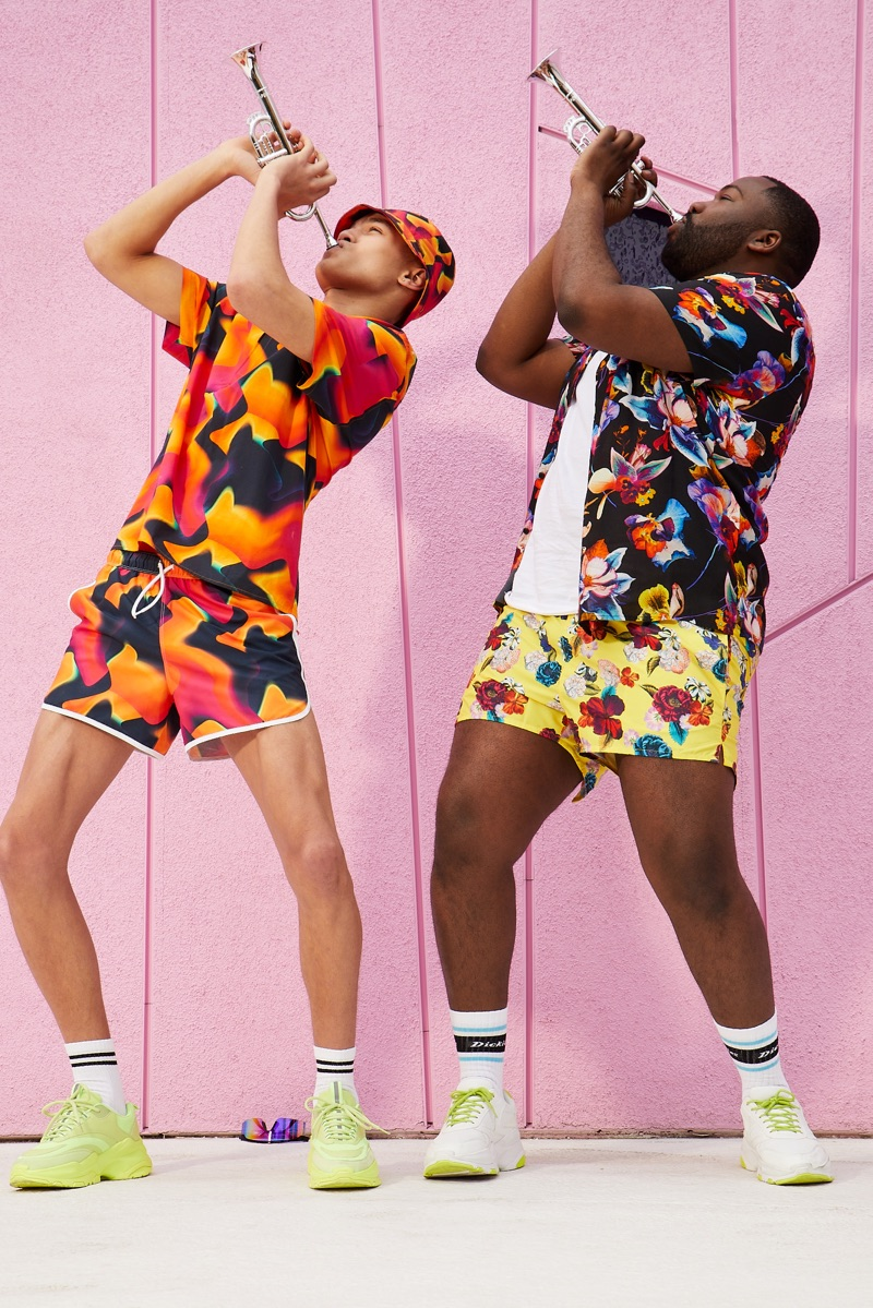 Having a blast, Louis Griffiths and Nemar wear vibrant fashions from ASOS.
