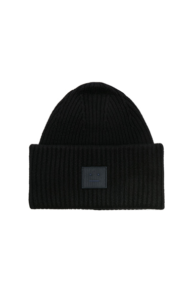 Acne Studios Pansy Face Beanie in Black.