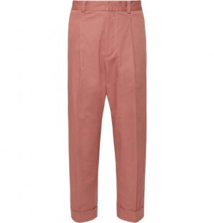 Acne Studios - Pierre Cropped Pleated Cotton-Blend Trousers - Men - Pink