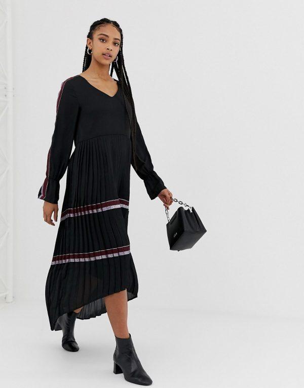 Amy Lynn bell sleeve midi dress with pleated skirt - Black