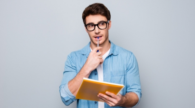 Attractive Man Glasses Paper Thinking