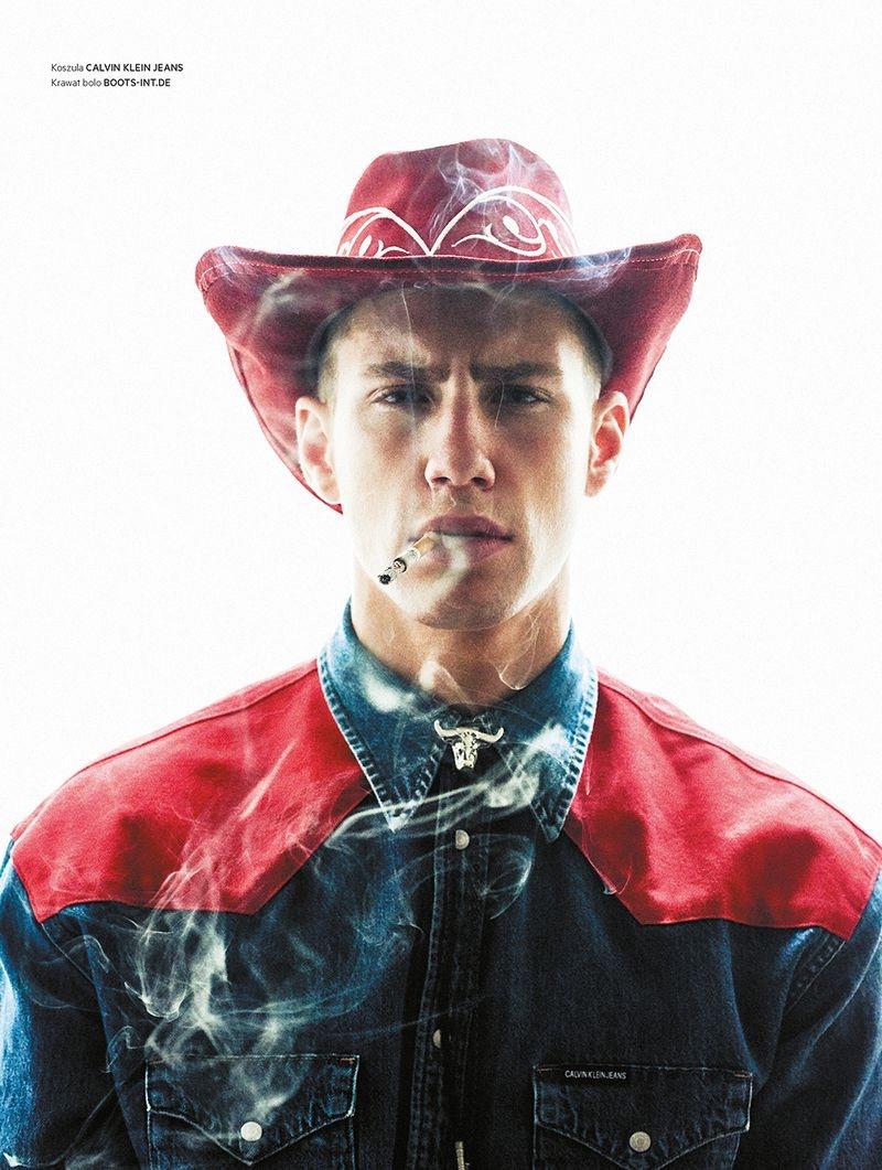 Augusta Alexander is a Cowboy for L'Officiel Hommes Poland