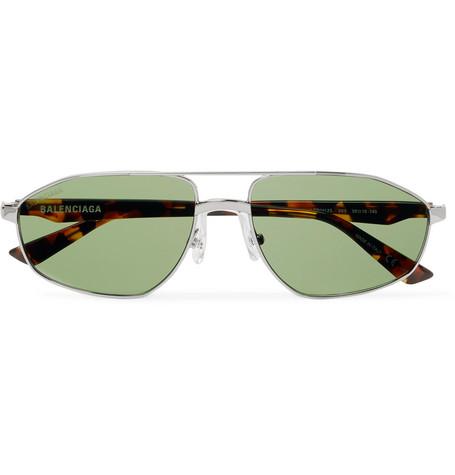 f6a4a14f1 Balenciaga - Aviator-Style Silver-Tone and Tortoiseshell Acetate Sunglasses  - Men - Silver