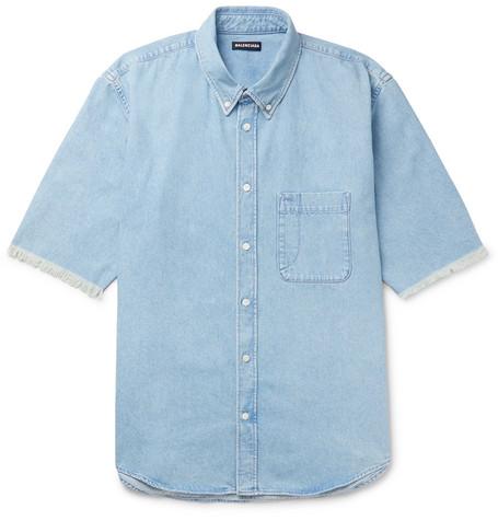 Balenciaga - Button-Down Collar Distressed Logo-Print Denim Shirt - Men - Blue