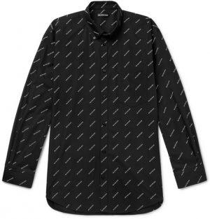 Balenciaga - Button-Down Collar Logo-Print Cotton Shirt - Men - Black
