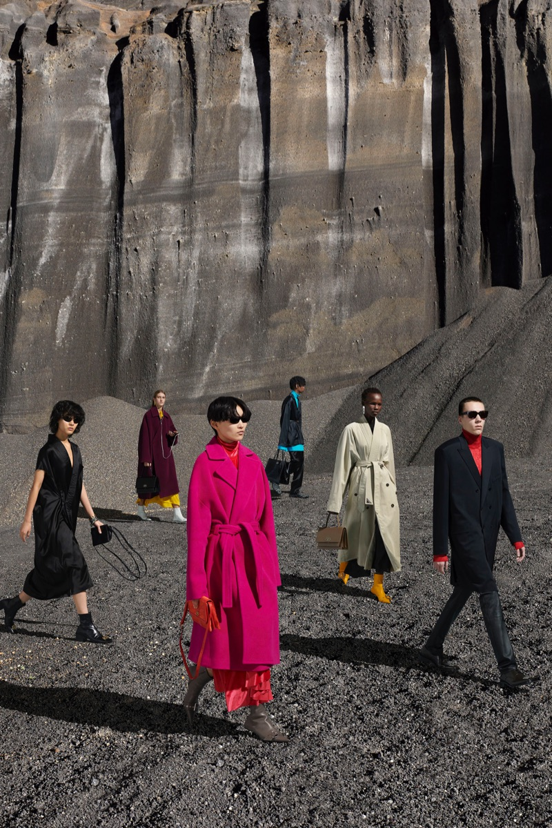 Sporting colorful tailored styles, models take to the desert for Balenciaga's fall-winter 2019 campaign.