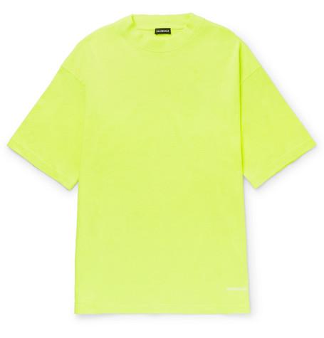 Balenciaga - Logo-Embroidered Cotton-Jersey T-Shirt - Men - Yellow