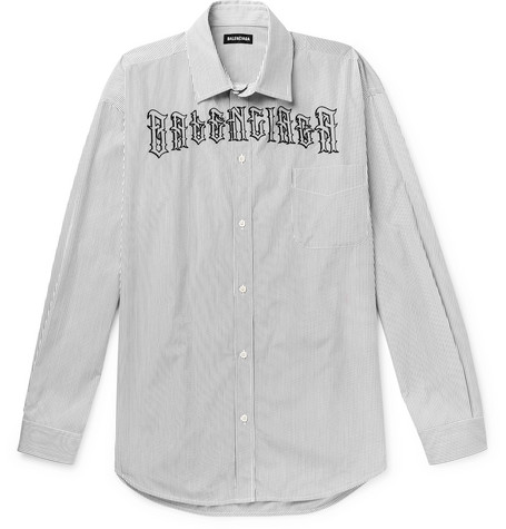 Balenciaga - Logo-Embroidered Striped Cotton-Poplin Shirt - Men - White