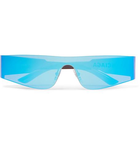 Balenciaga - Mono Rectangle-Frame Nylon Mirrored Sunglasses - Men - Bright blue