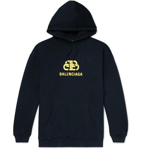 Balenciaga - Oversized Logo-Print Loopback Cotton-Jersey Hoodie - Men - Black