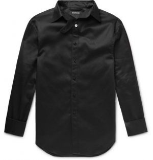 Balenciaga - Oversized Printed Cotton-Satin Shirt - Men - Black