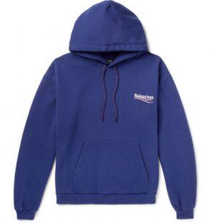 Balenciaga - Printed Cotton-Blend Jersey Hoodie - Men - Blue