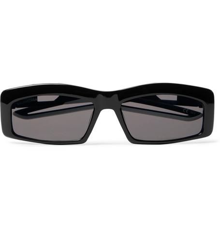 369041363 Balenciaga – Rectangle-Frame Rubber-Trimmed Acetate Sunglasses – Men – Black