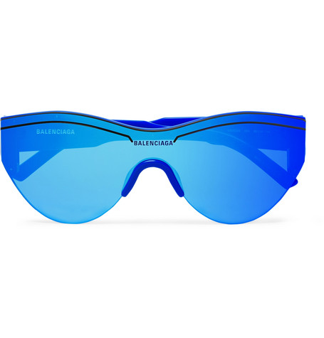 Balenciaga - Round-Frame Acetate Mirrored Sunglasses - Men - Cobalt blue