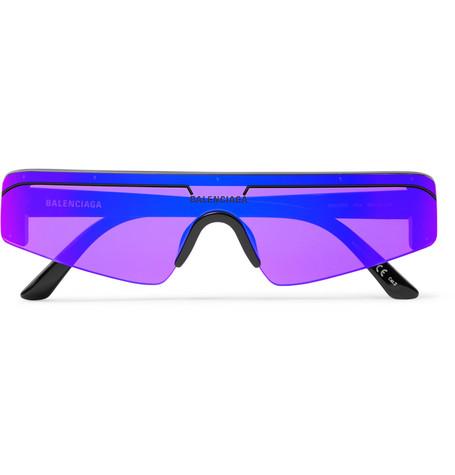 Balenciaga - Ski Rectangle-Frame Enamelled Acetate Sunglasses - Men - Purple