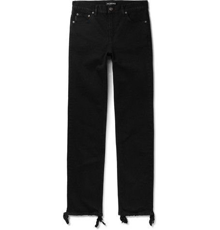 Balenciaga - Skinny-Fit Distressed Stretch-Denim Jeans - Men - Black