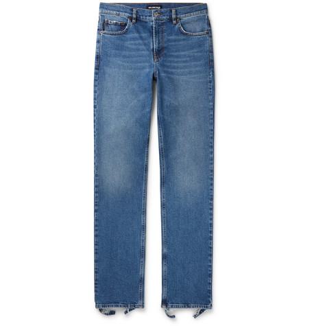 Balenciaga - Slim-Fit Distressed Stretch-Denim Jeans - Men - Blue