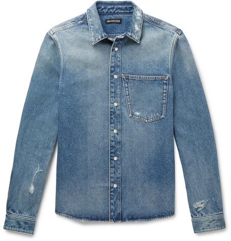 Balenciaga - Slim-Fit Embroidered Distressed Denim Shirt - Men - Blue
