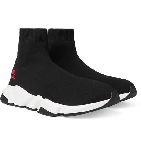 Balenciaga - Speed Sock Stretch-Knit Slip-On Sneakers - Men - Black