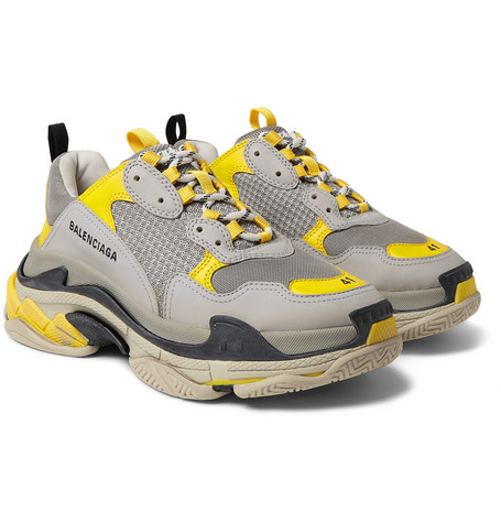 1caca43795561 Balenciaga – Triple S Mesh and Leather Sneakers – Men – Gray | The ...