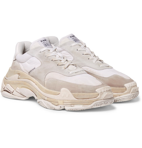 Balenciaga - Triple S Shell and Suede Sneakers - Men - Neutral