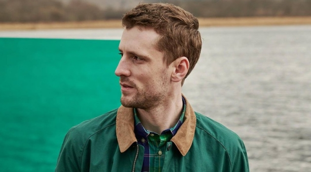 Embracing green and blue, George Barnett sports a shirt from Barbour's Pop Tartan collection.