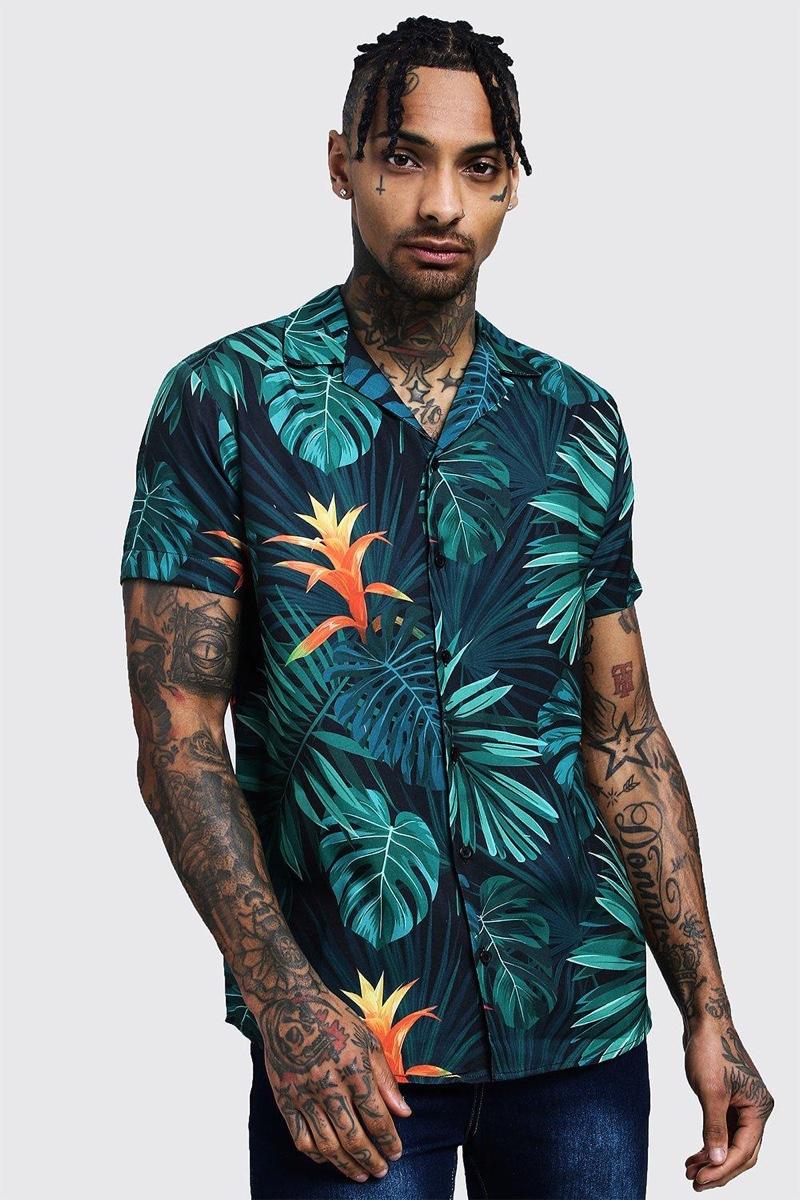 Boohooman Palm Print Short Sleeve Shirt $22.40